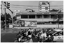 Traffic waiting at intersection. Ho Chi Minh City, Vietnam ( black and white)