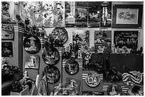 Crafts in souvenir store. Ho Chi Minh City, Vietnam (black and white)