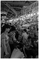 Stalls inside Ben Thanh market. Ho Chi Minh City, Vietnam ( black and white)
