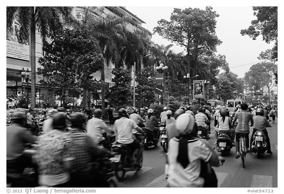 Busy street. Ho Chi Minh City, Vietnam (black and white)