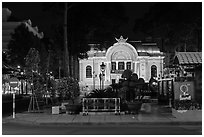 Opera house at night. Ho Chi Minh City, Vietnam (black and white)