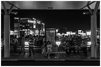 Outside Than Son Nhat airport at night. Ho Chi Minh City, Vietnam (black and white)