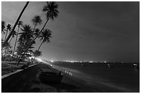Beach, palm trees and coracle boats at night. Mui Ne, Vietnam (black and white)