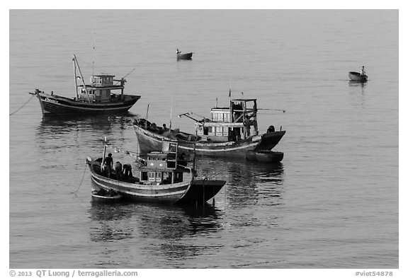 Fishing boats, early morning. Mui Ne, Vietnam (black and white)