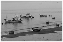 Beach and fishing boats from above. Mui Ne, Vietnam (black and white)