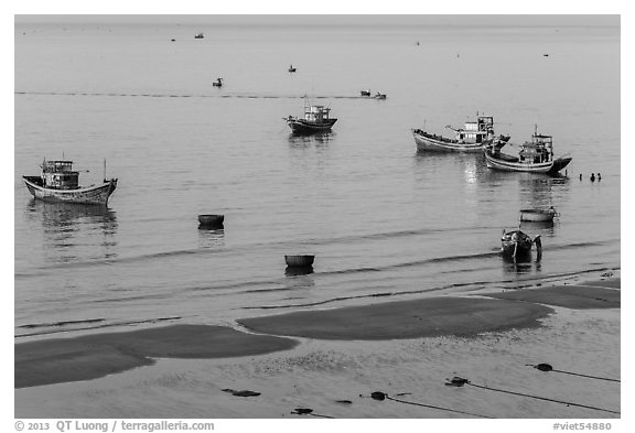 Coracle boats, fishing boats from above. Mui Ne, Vietnam (black and white)