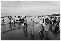 Group on beach with paniers of freshly caught shells, early morning. Mui Ne, Vietnam (black and white)