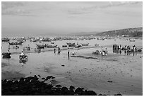 Beach and fishing fleet, early morning. Mui Ne, Vietnam (black and white)