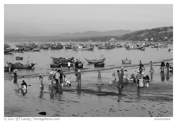 Hawkers gather on mirror-like beach in early morning. Mui Ne, Vietnam (black and white)
