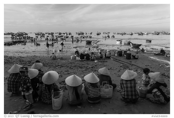 Women with conical hats sit on beach as fresh catch arrives. Mui Ne, Vietnam (black and white)