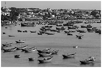 Fishing boats and village. Mui Ne, Vietnam (black and white)