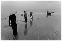 Fishermen pulling line onto beach. Mui Ne, Vietnam (black and white)