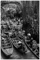 Traffic jam of boats, Phoenix Island. My Tho, Vietnam ( black and white)