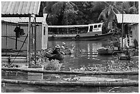 Men fishing next to houseboats. My Tho, Vietnam ( black and white)