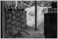 Bricks and rice hulk. Mekong Delta, Vietnam ( black and white)
