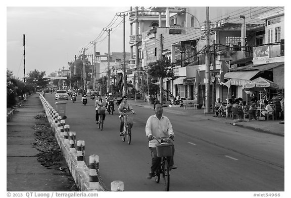 Bicycles on riverfront street. Tra Vinh, Vietnam (black and white)