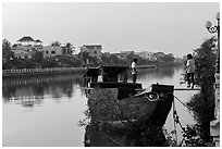 Couple on barge, Long Binh River. Tra Vinh, Vietnam (black and white)