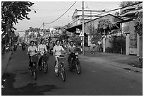 Schoolgirls on bicycles. Tra Vinh, Vietnam (black and white)