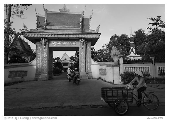Khmer-style Ong Met Pagoda seen from street. Tra Vinh, Vietnam (black and white)