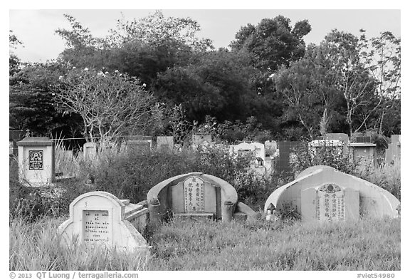 Tombs. Tra Vinh, Vietnam (black and white)