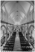 Church nave. Tra Vinh, Vietnam (black and white)