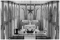 Church altar. Tra Vinh, Vietnam (black and white)