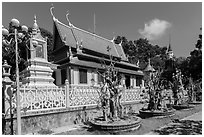 Hang Pagoda in Khmer style. Tra Vinh, Vietnam ( black and white)