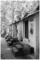 Row of retreat huts, Hang Pagoda. Tra Vinh, Vietnam ( black and white)