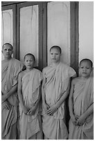 Novice monks, Hang Pagoda. Tra Vinh, Vietnam ( black and white)