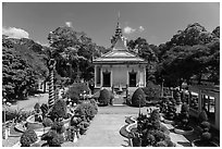 Hang Pagoda and grounds. Tra Vinh, Vietnam (black and white)
