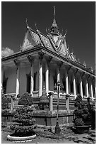 Pagoda in Khmer style. Tra Vinh, Vietnam ( black and white)