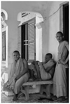 Young monks at Khmer pagoda. Tra Vinh, Vietnam (black and white)