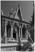 Khmer pagoda. Tra Vinh, Vietnam ( black and white)