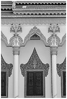 Facade and roof detail, Khmer pagoda. Tra Vinh, Vietnam (black and white)