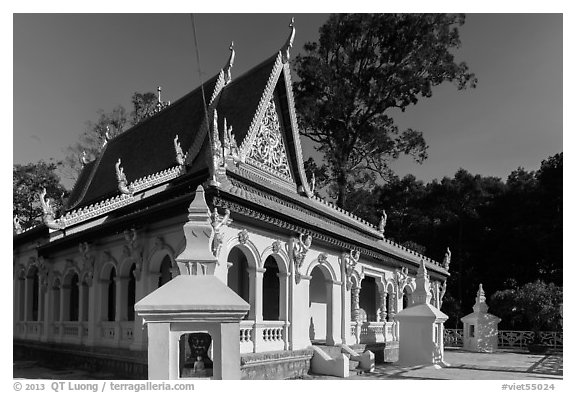Ang Pagoda in Khmer style. Tra Vinh, Vietnam (black and white)