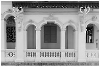Facade detail, Ang Pagoda. Tra Vinh, Vietnam ( black and white)