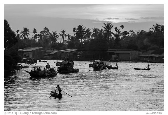 Boats and river at sunrise, Phung Diem. Can Tho, Vietnam (black and white)