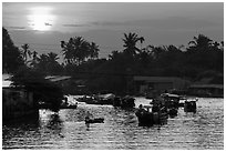 Sunrise, Phung Diem. Can Tho, Vietnam (black and white)