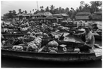 Phung Diem floating market. Can Tho, Vietnam ( black and white)