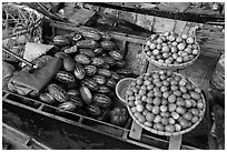 Vegetables and fruit for sale on boat, Phung Diem. Can Tho, Vietnam ( black and white)