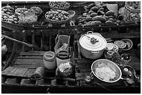Boat with pho noodles, Phung Diem. Can Tho, Vietnam ( black and white)