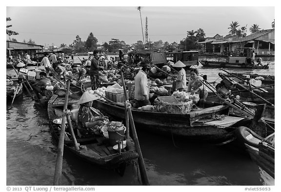 Large gathering of boats at Phung Diem floating market. Can Tho, Vietnam (black and white)