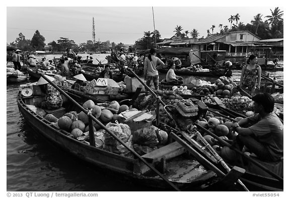 Boats closely decked together, Phung Diem floating market. Can Tho, Vietnam (black and white)