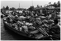 Boats closely decked together, Phung Diem floating market. Can Tho, Vietnam ( black and white)