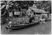 Woman unloading bananas from boat, with her house behind. Can Tho, Vietnam (black and white)