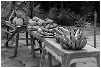 Fruit stand. Can Tho, Vietnam (black and white)