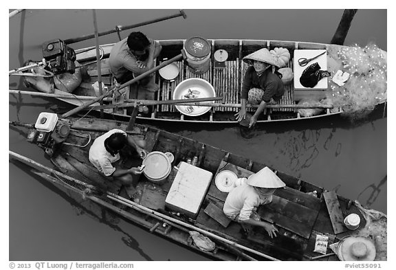 Two sampan boats side-by-side seen from above. Can Tho, Vietnam (black and white)
