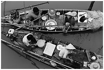 Two sampan boats side-by-side seen from above. Can Tho, Vietnam ( black and white)