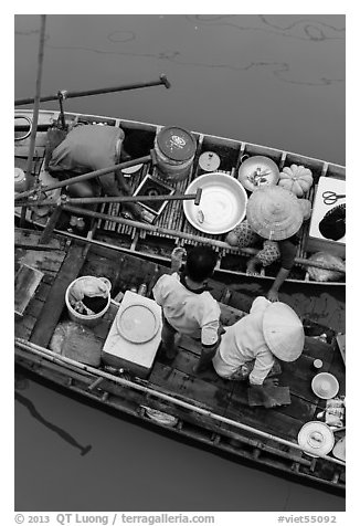 Couples on two side-by-side boats seen from above. Can Tho, Vietnam (black and white)