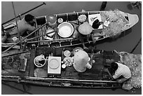 Two fishing sampans side-by-side seen from above. Can Tho, Vietnam (black and white)